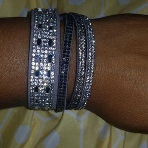 Multi strand rhinestone faux suede bracelet